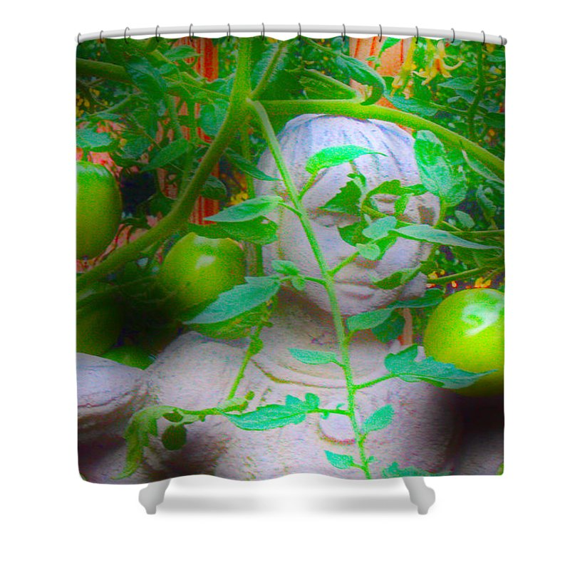 Statues Shower Curtain featuring the photograph In The Garden by David Campbell