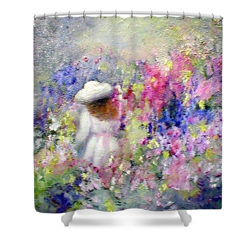 Impressionism Shower Curtain featuring the painting In The Garden by Gail Kirtz