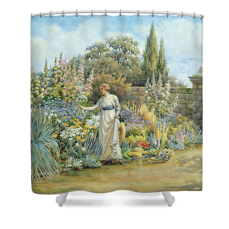 The Shower Curtain featuring the painting In The Garden by William Ashburner