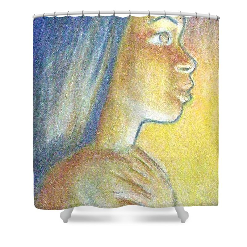 Shower Curtain featuring the drawing In The Glow by Jan Gilmore