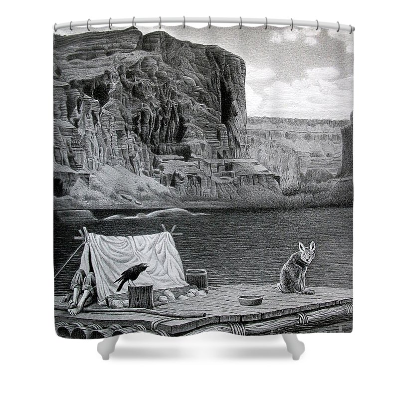 Grand Canyon Shower Curtain featuring the drawing In The Grand Canyon by Miro Gradinscak