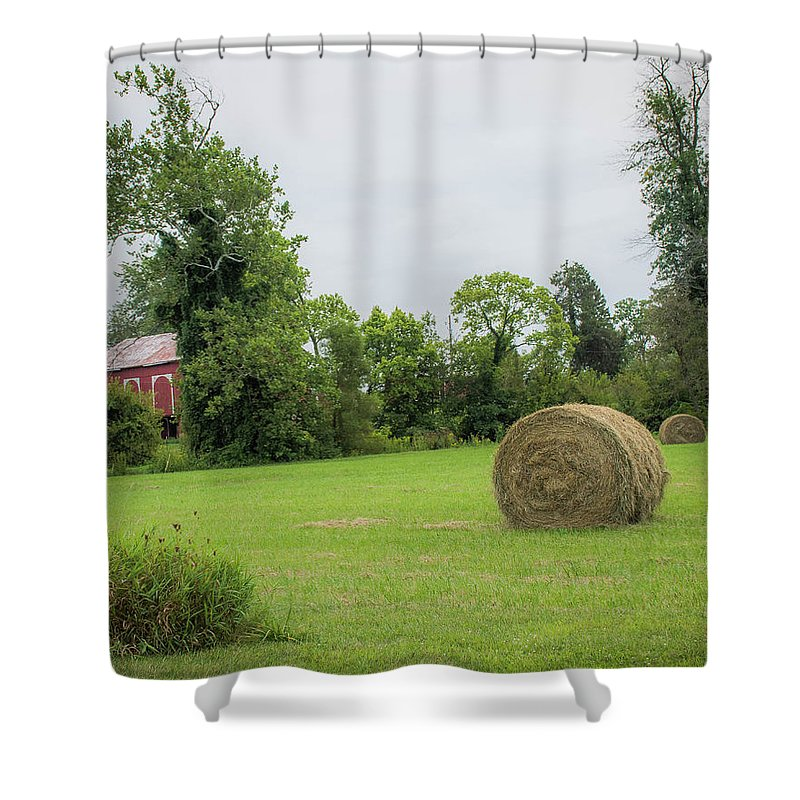 Haybales Shower Curtain featuring the photograph In The Hayfield by Greg Sommer