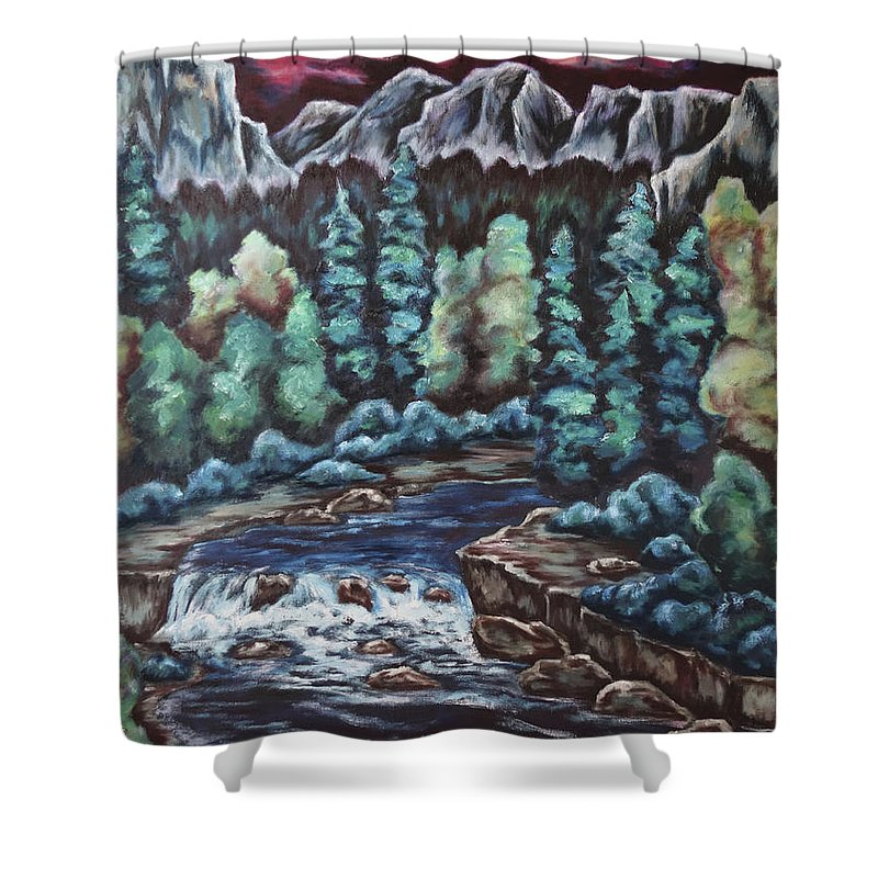 Sunset Shower Curtain featuring the painting In The Land Of Dreams by Cheryl Pettigrew