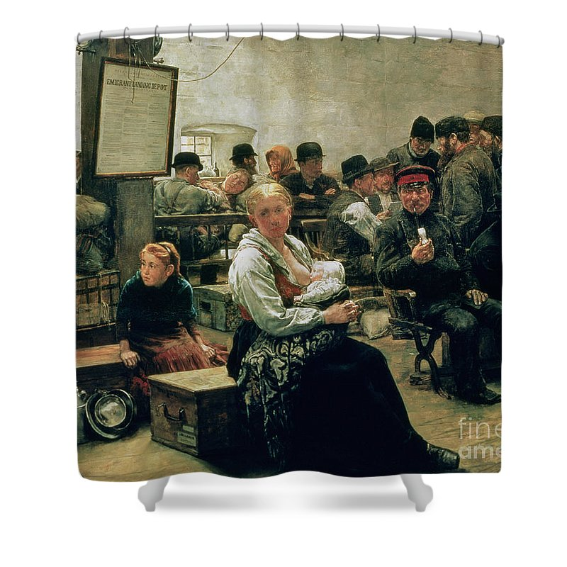 The Shower Curtain featuring the painting In The Land Of Promise by Charles Frederic Ulrich