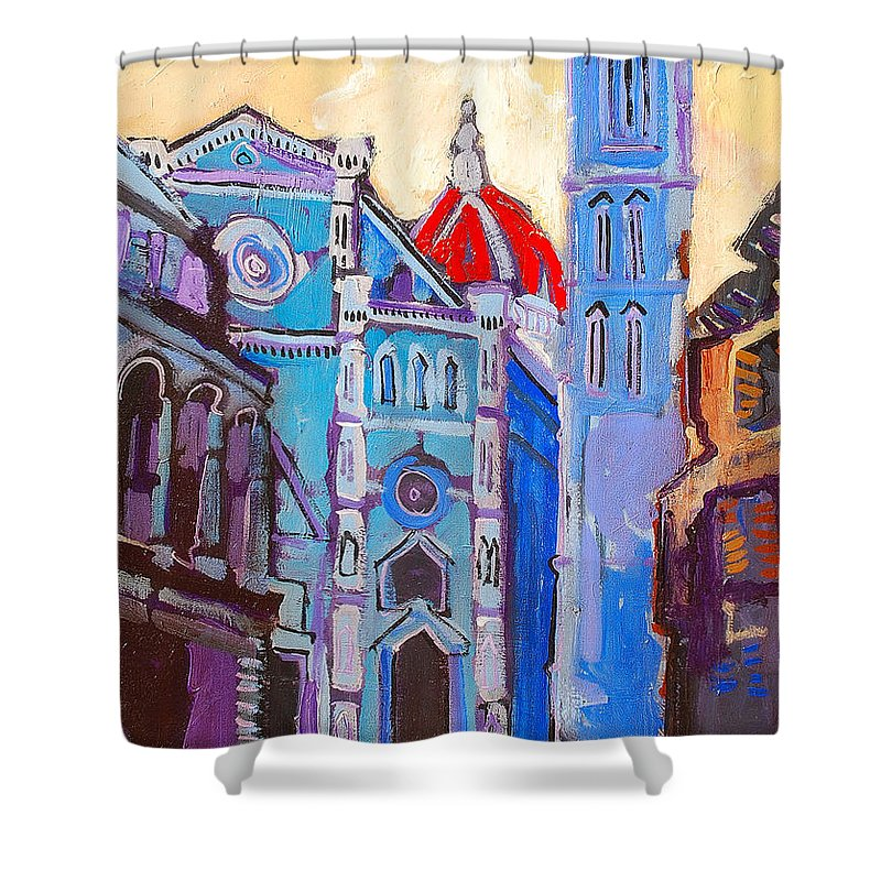 Florence Shower Curtain featuring the painting In The Middle Of by Kurt Hausmann