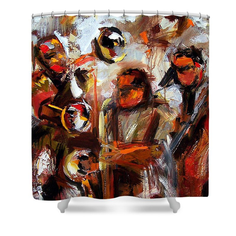 Jazz Art Shower Curtain featuring the painting In The Moment by Debra Hurd