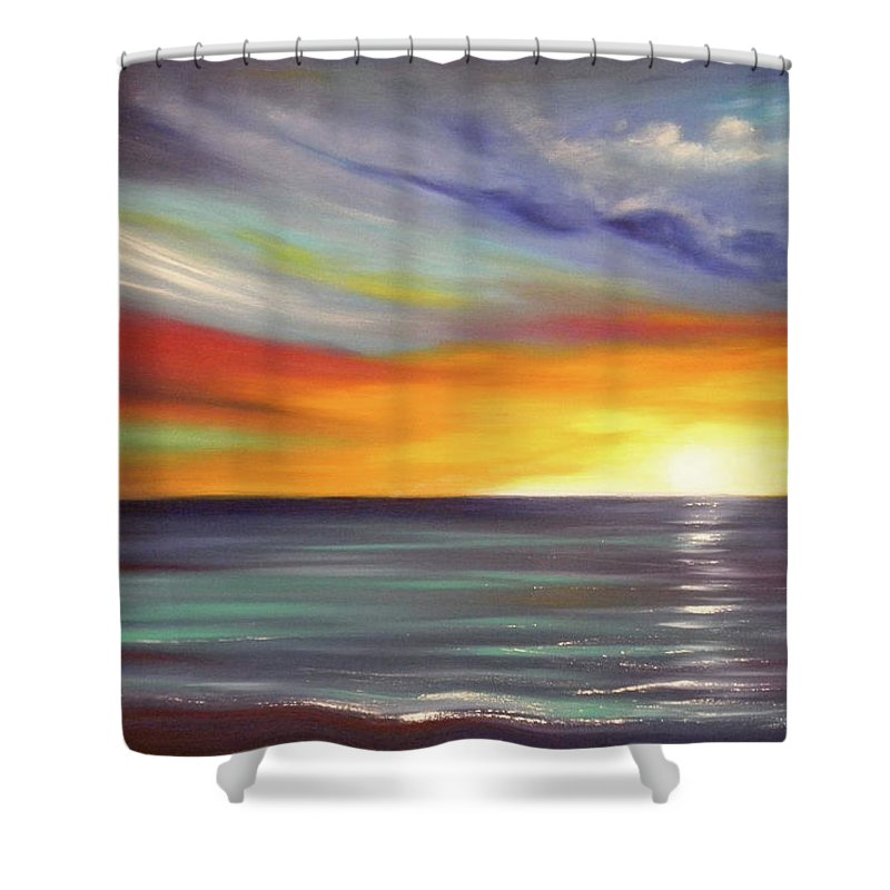 Brown Shower Curtain featuring the painting In The Moment by Gina De Gorna