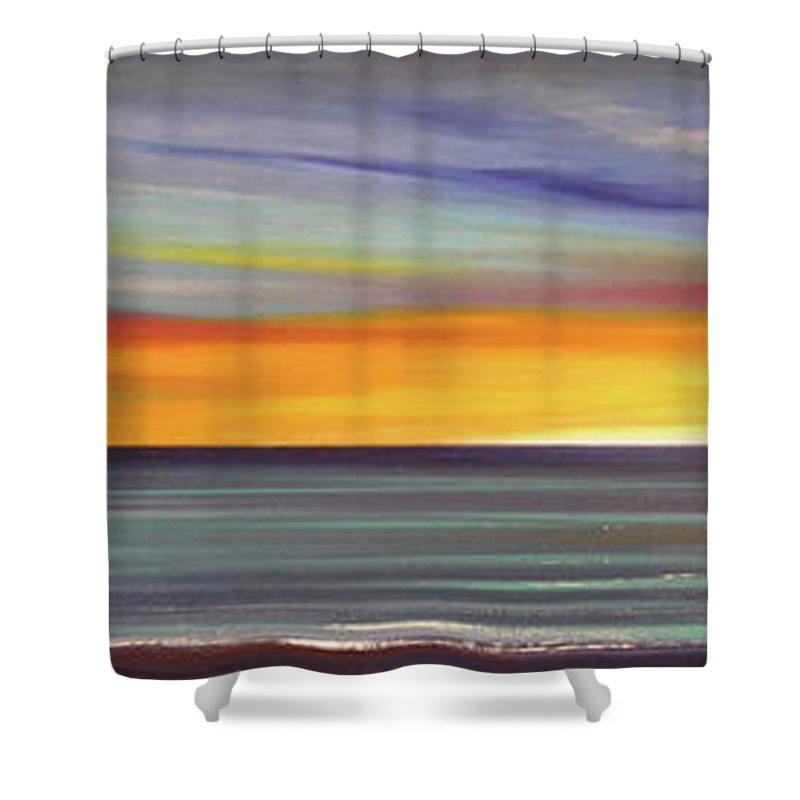 Sunset Shower Curtain featuring the painting In The Moment Panoramic Sunset by Gina De Gorna