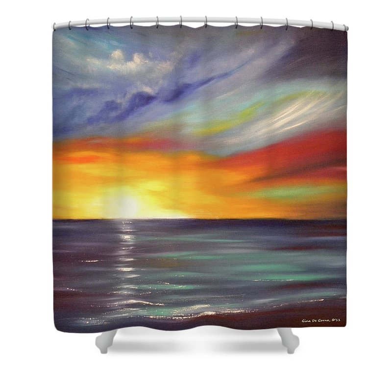 Brown Shower Curtain featuring the painting In The Moment Square Sunset by Gina De Gorna