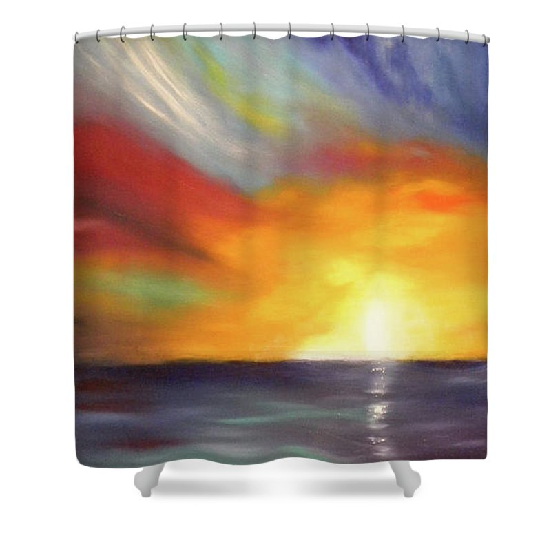 Sunset Shower Curtain featuring the painting In The Moment - Vertical Sunset by Gina De Gorna