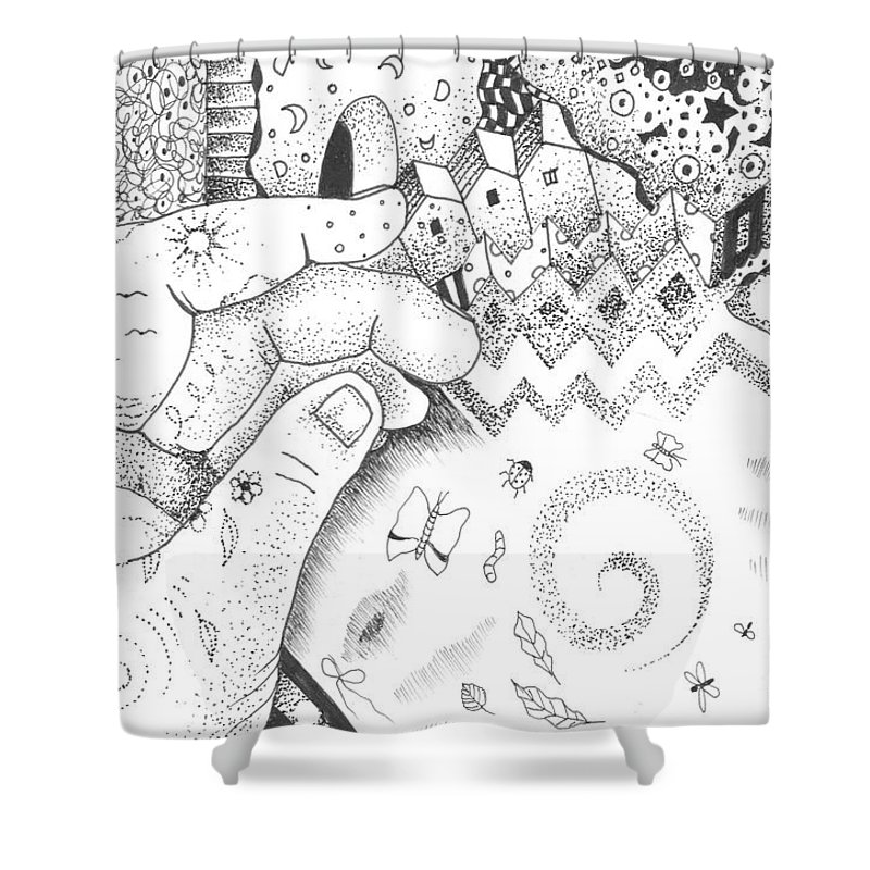Oneness Shower Curtain featuring the drawing In The Name Of One by Helena Tiainen