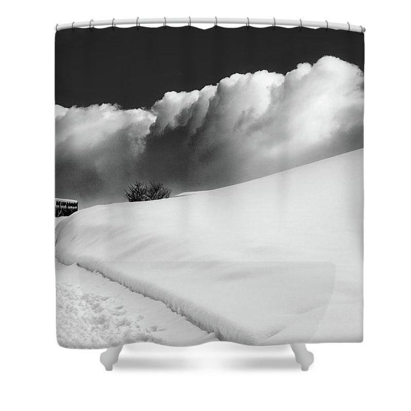 Bw Shower Curtain featuring the photograph in the Ore Mountains by Dorit Fuhg