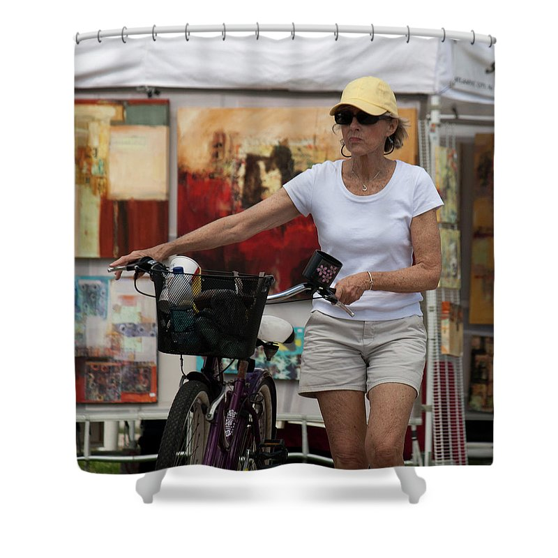 Bicycle Shower Curtain featuring the photograph In The Park by Donna Walsh