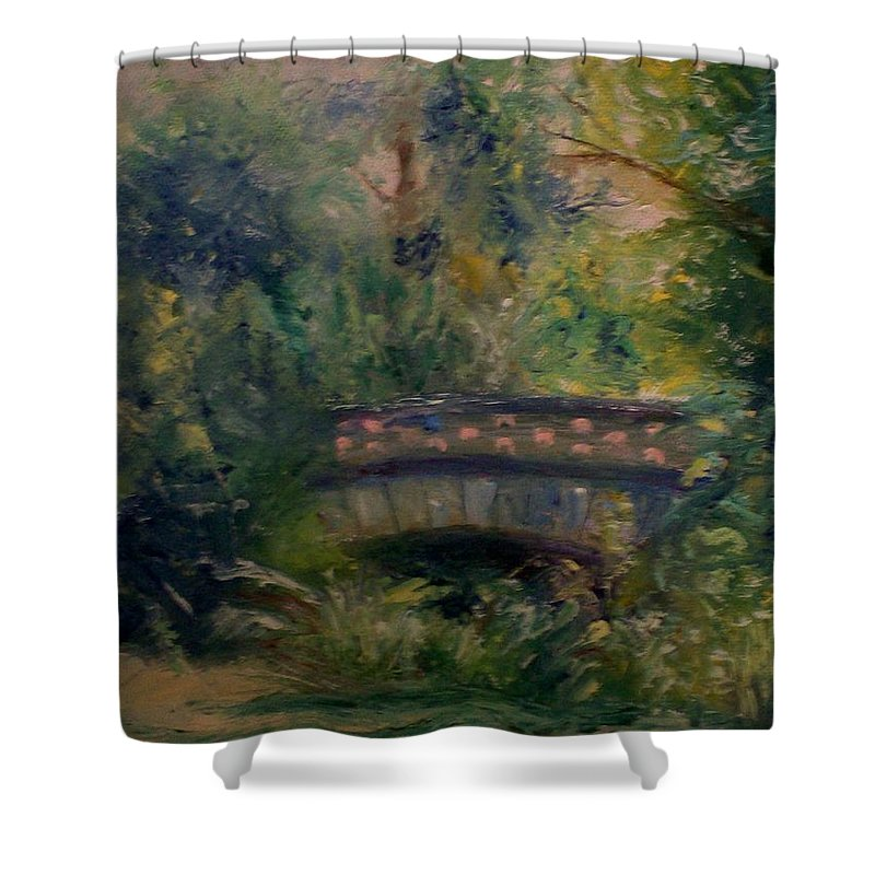 Landscape Shower Curtain featuring the painting In The Park by Stephen King