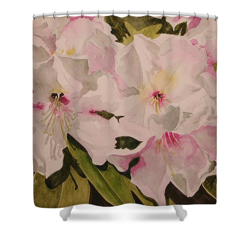 Pink Shower Curtain featuring the painting In The Pink by Jean Blackmer