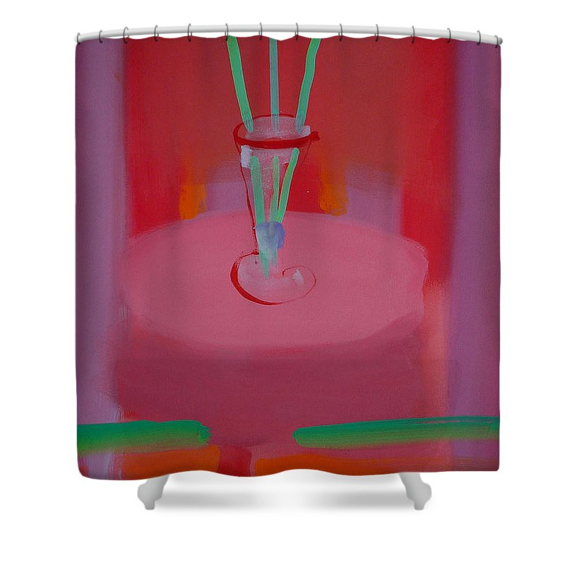 Vase Shower Curtain featuring the painting In The Red Room by Charles Stuart