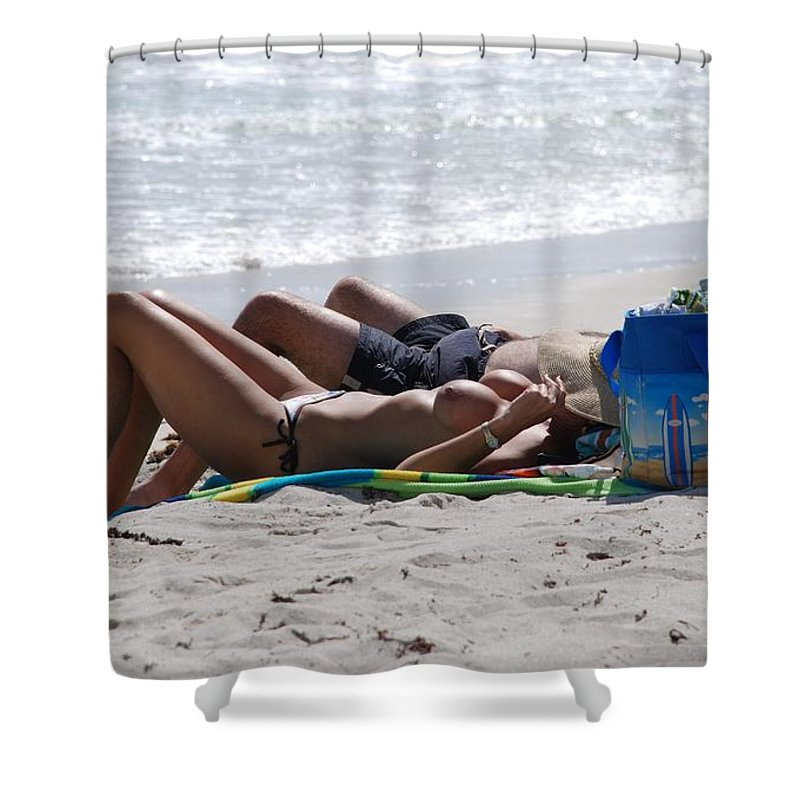 Nude Shower Curtain featuring the photograph In The Sand At Paradise Beach by Rob Hans