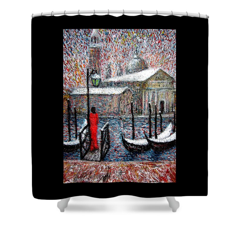 Venice Shower Curtain featuring the painting In The Snow In Venice by Riccardo Maffioli
