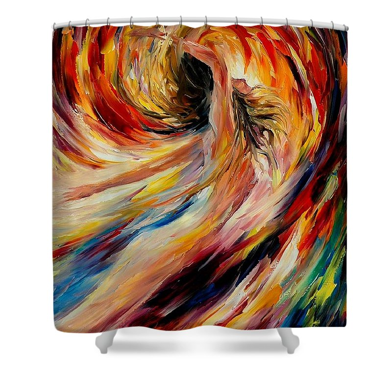 Nude Shower Curtain featuring the painting In The Vortex Of Passion by Leonid Afremov