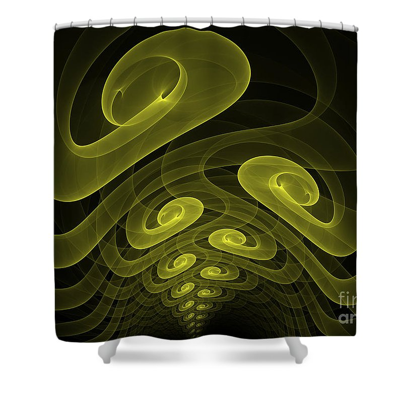 Apophysis Fractal Yellow Canvas Framed Cards Sell Art Shower Curtain featuring the mixed media In The Yellow Tunnel by Deborah Benoit