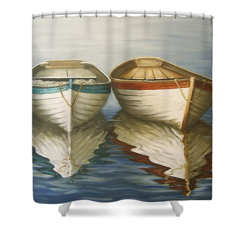 Seascape Ocean Reflection Water Boats Sea Shower Curtain featuring the painting In Touch by Natalia Tejera
