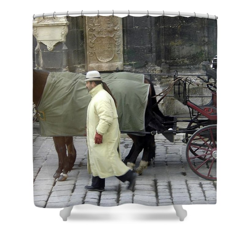 Horse Shower Curtain featuring the photograph In Vienna by Mary Rogers