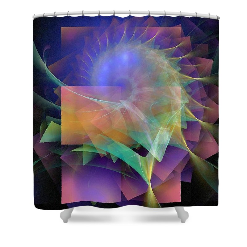 Abstract Shower Curtain featuring the digital art In What Far Place by NirvanaBlues