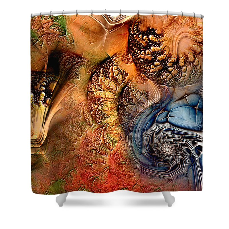 Abstract Shower Curtain featuring the digital art Incident At Neshabur by Casey Kotas