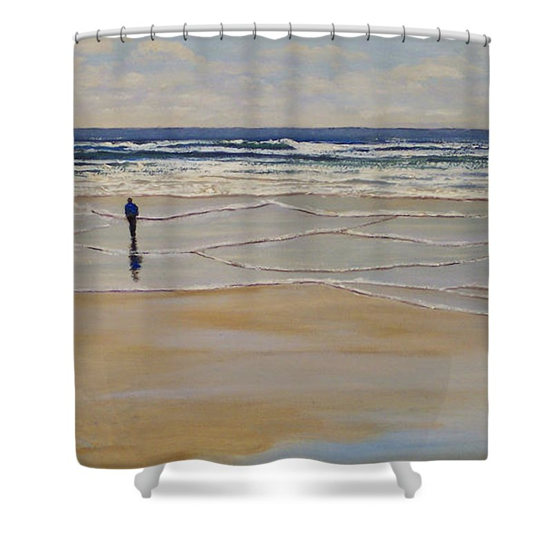 Beach Walk Shower Curtain featuring the painting Incoming Tide by Frank Wilson