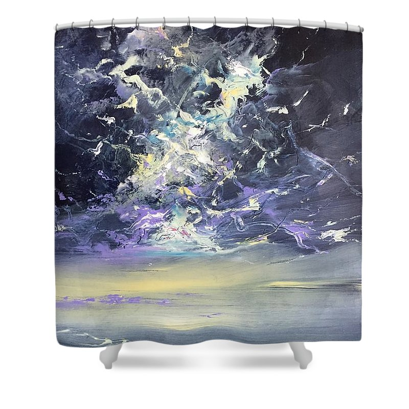 Seascape Shower Curtain featuring the painting Independence Day I by Lex Halakan