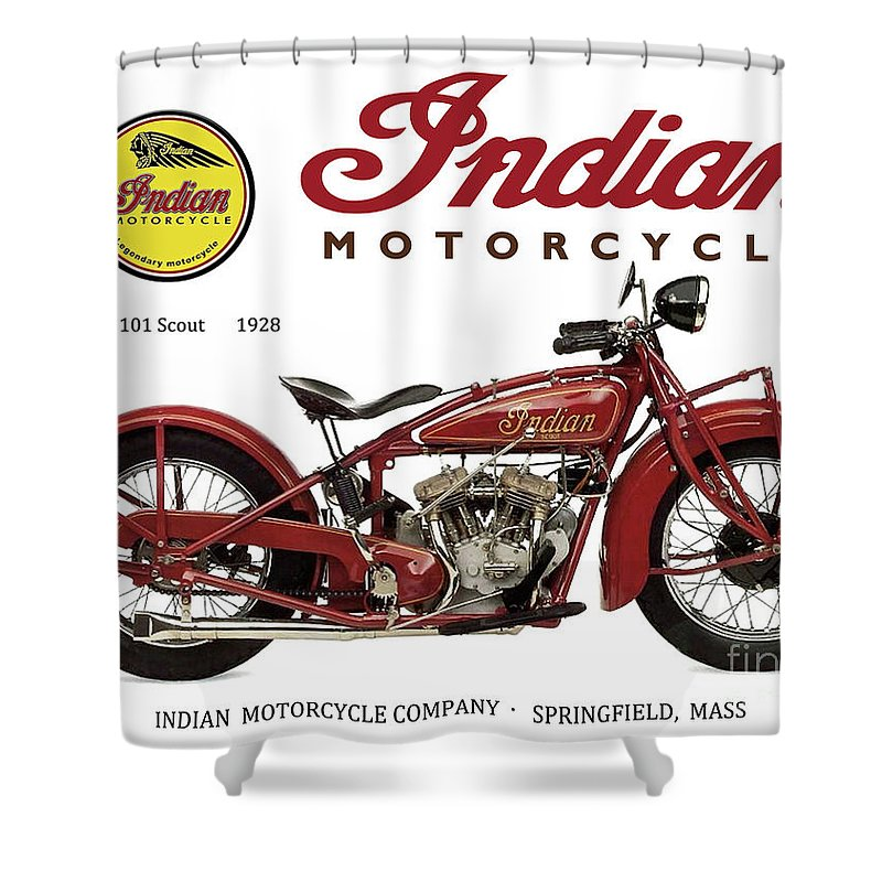 Indian 101 Scout Shower Curtain Featuring The Mixed Media 1928 Motorcycle