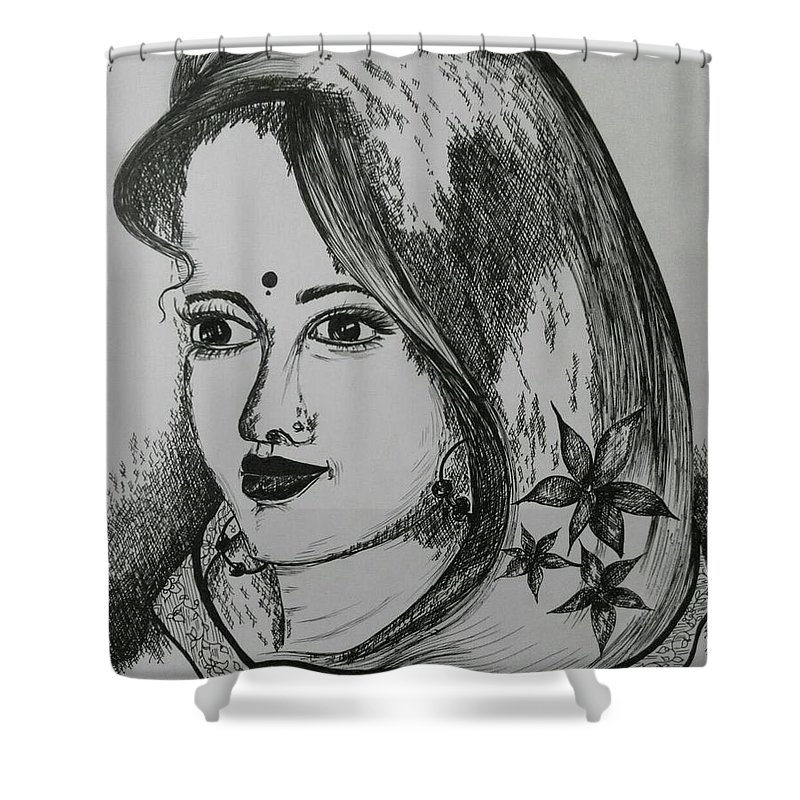 Women Shower Curtain featuring the drawing Indian Beauty by Pushpa Sharma