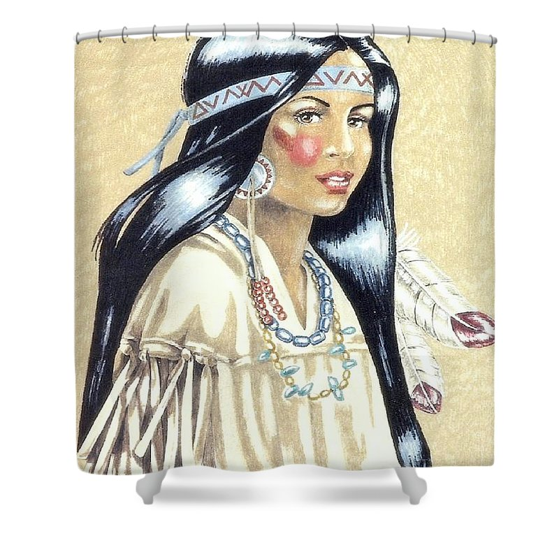 American Indians Shower Curtain featuring the painting Indian Girl by George I Perez