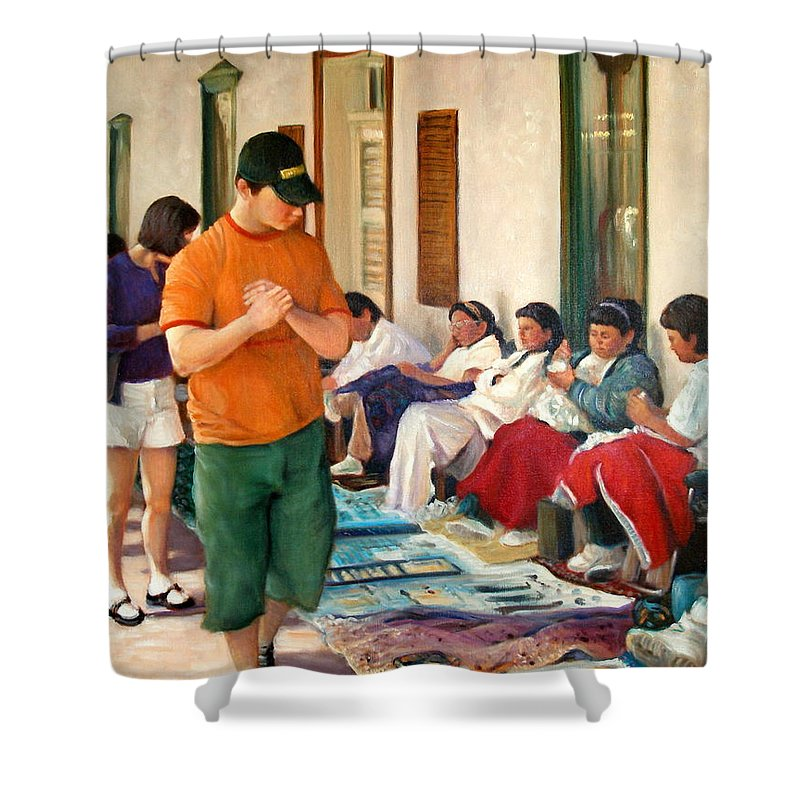 Realism Shower Curtain featuring the painting Indian Market by Donelli DiMaria