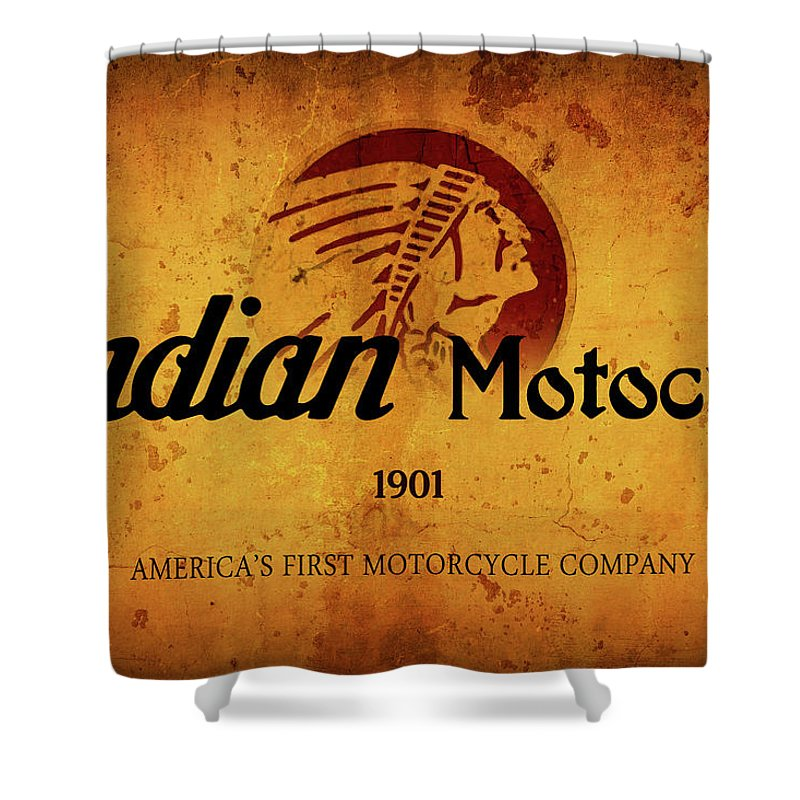 Inidan Shower Curtain featuring the digital art Indian Motocycle 1901 - America's First Motorcycle Company by Daniel Hagerman