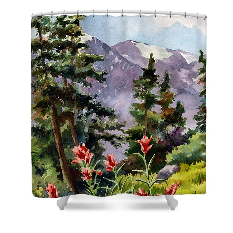 Colorado Art Shower Curtain featuring the painting Indian Paintbrush by Anne Gifford