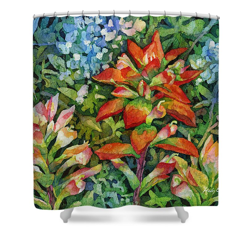 Wild Flower Shower Curtain featuring the painting Indian Paintbrush by Hailey E Herrera