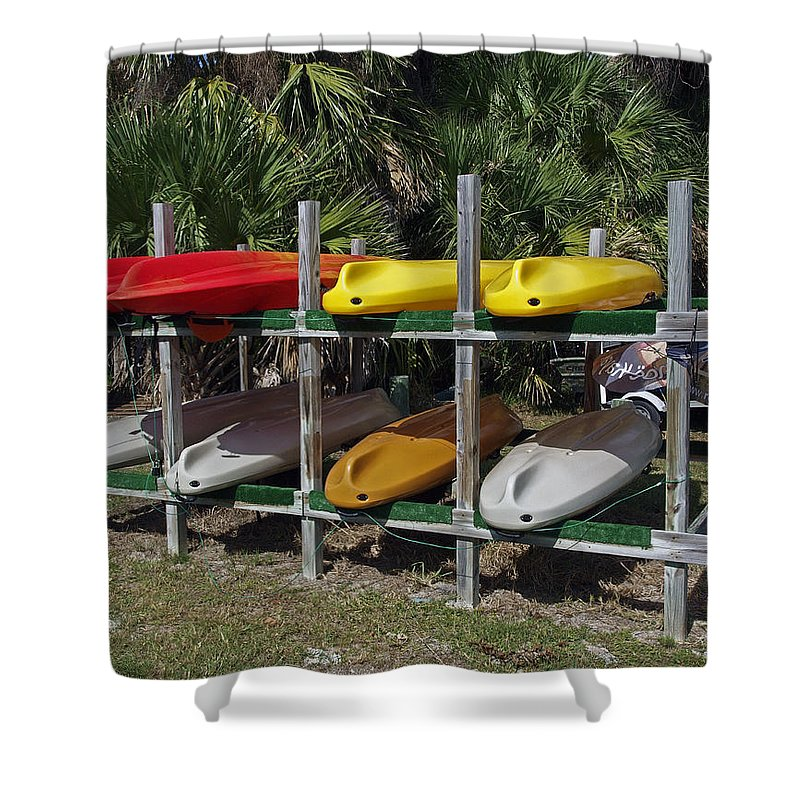 Kayak Shower Curtain featuring the photograph Indian River In Florida by Allan Hughes