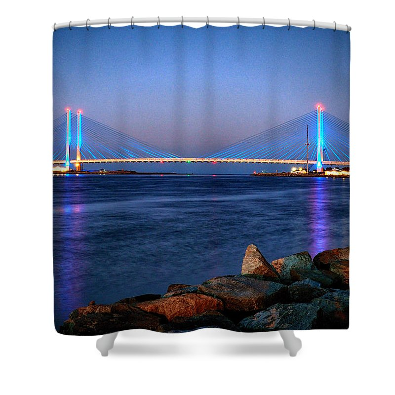 Indian River Inlet Shower Curtain featuring the photograph Indian River Inlet Bridge Twilight by Bill Swartwout Fine Art Photography