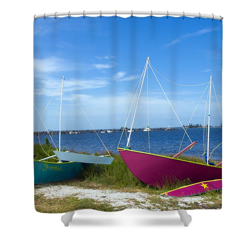 Sail; Sailing; Boat; Sailboat; Mast; Plywood; Homemade; Boy; Scouts; Fleet; Class; Dragon; Tiller; F Shower Curtain featuring the photograph Indian River Lagoon On The Easr Coast Of Florida by Allan Hughes