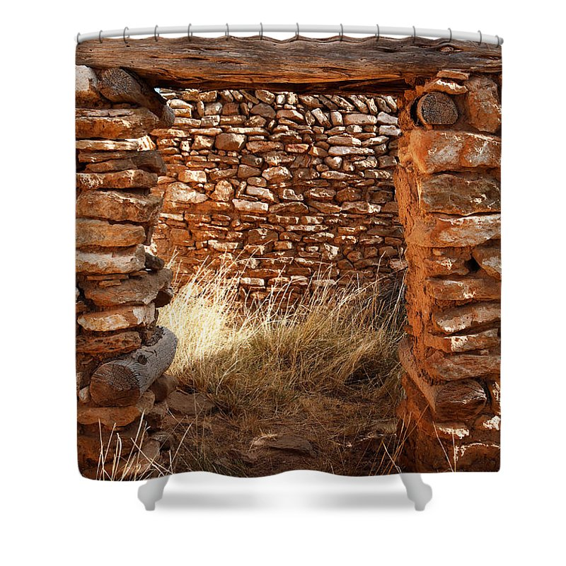 New Mexico Shower Curtain featuring the photograph Indian Ruins Doorway by Matt Suess
