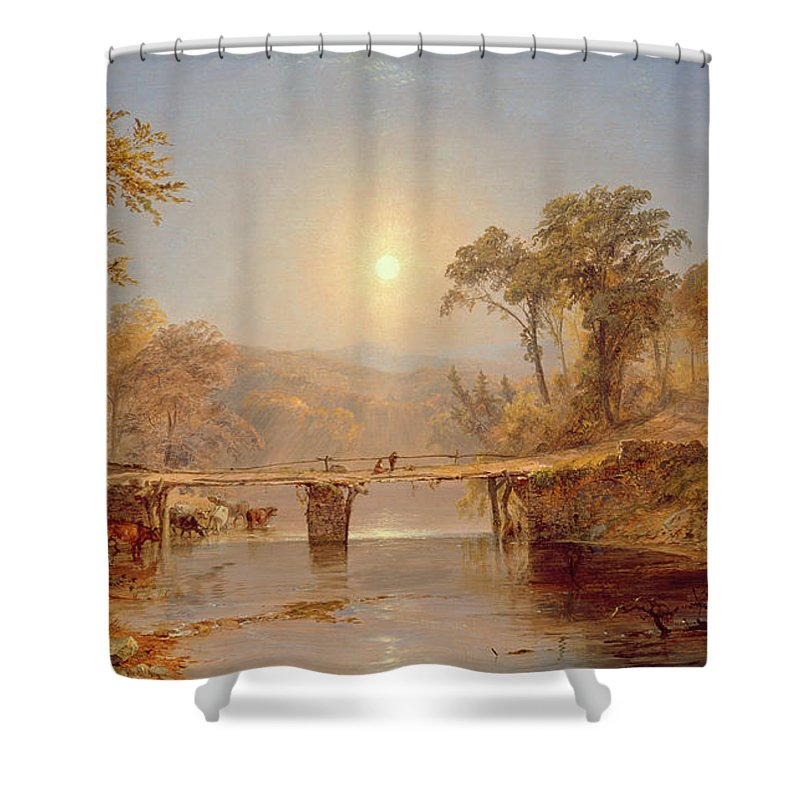 Sun Shower Curtain featuring the painting Indian Summer On The Delaware River by Jasper Francis Cropsey