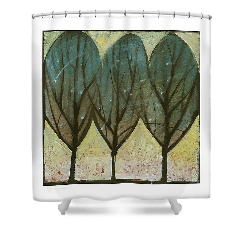 Trees Shower Curtain featuring the painting Indian Summer Snow by Tim Nyberg