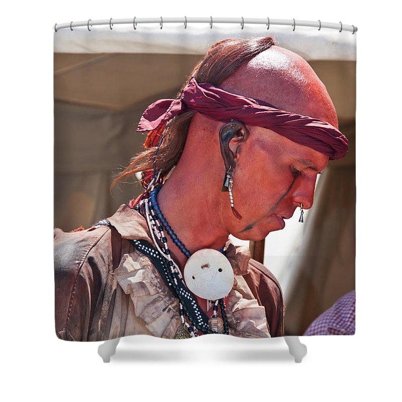 French & Indian War Re-enactor Shower Curtain featuring the photograph Indian Viii 6740 by Guy Whiteley