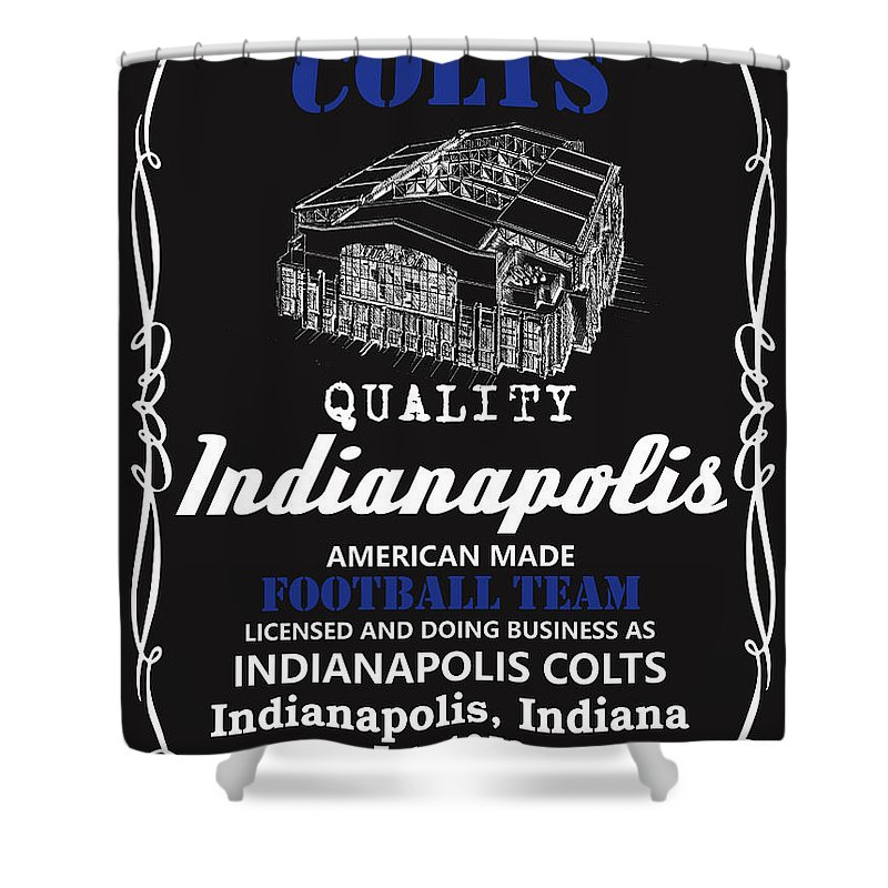 Colts Shower Curtain Featuring The Mixed Media Indianapolis Whiskey By Joe Hamilton