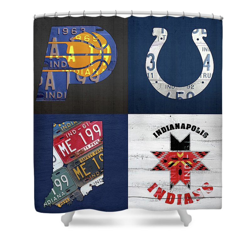 Indianapolis Indiana Sports Team License Plate Art Collage Map Pacers Colts  Indians Shower Curtain
