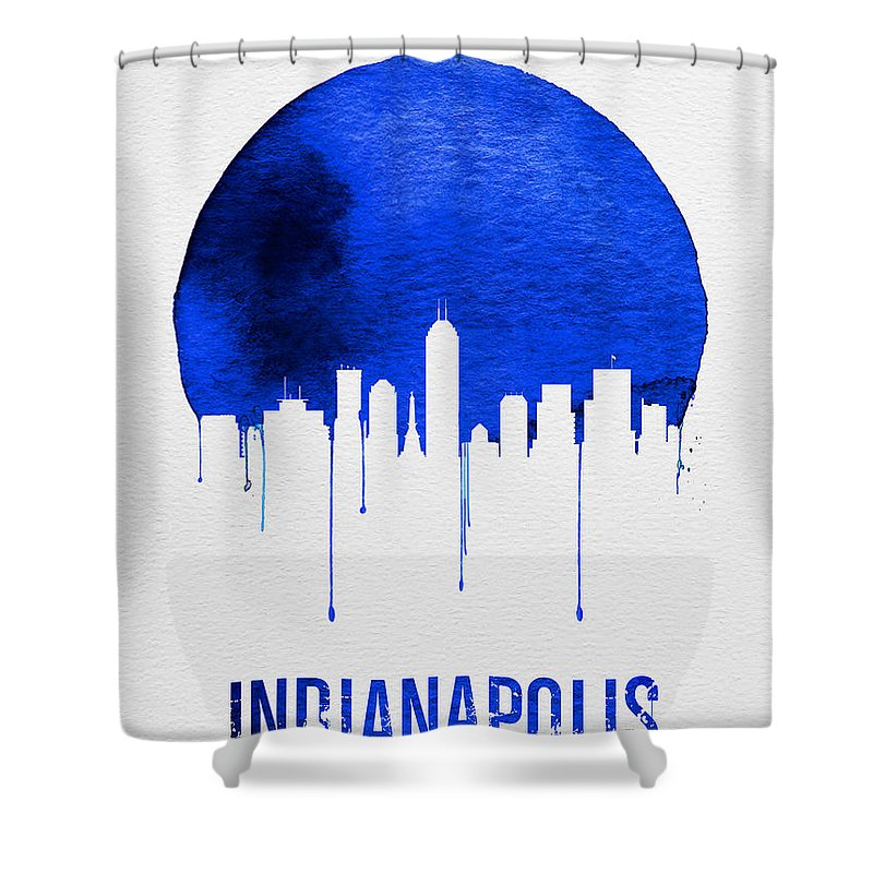 Indianapolis Shower Curtain featuring the digital art Indianapolis Skyline Blue by Naxart Studio