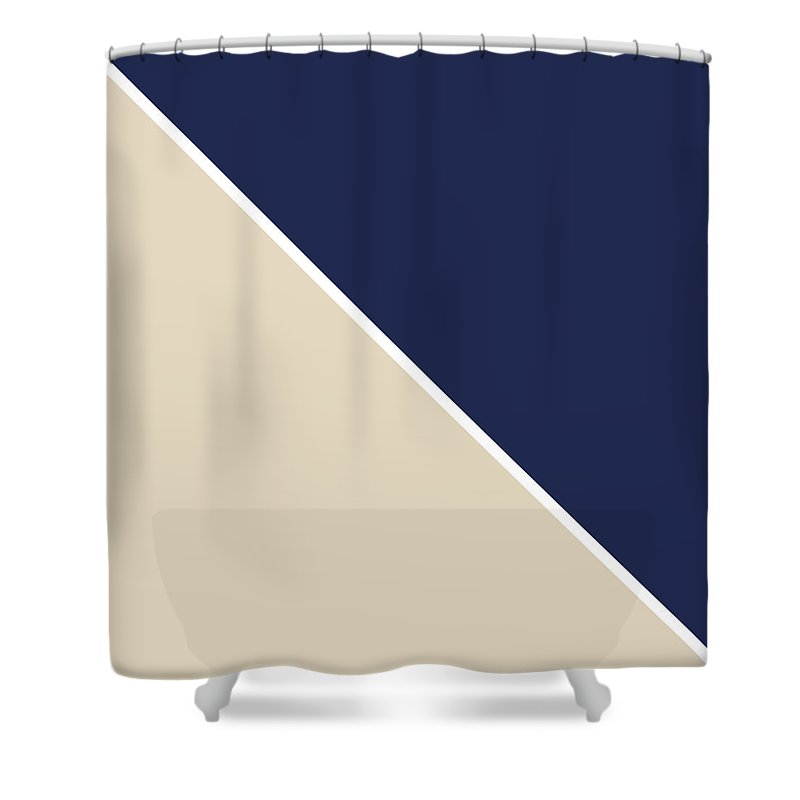 Blue Shower Curtain featuring the digital art Indigo And Sand Geometric by Linda Woods