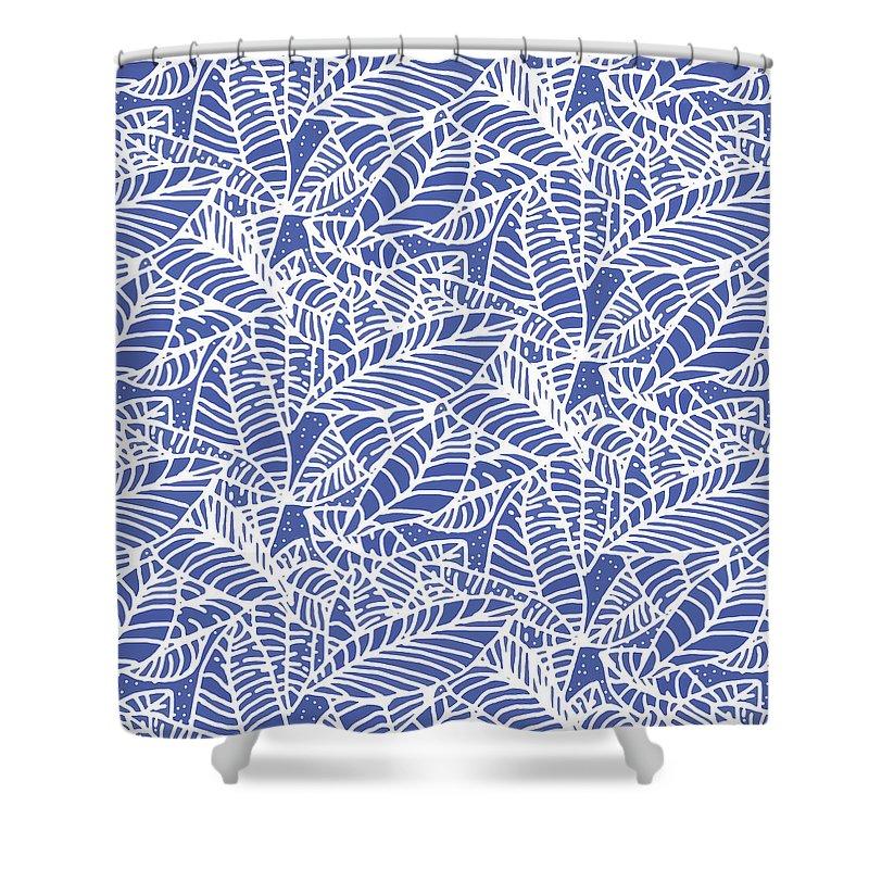 Batik Shower Curtain Featuring The Digital Art Indigo Leaves Medium By Karen Dyson