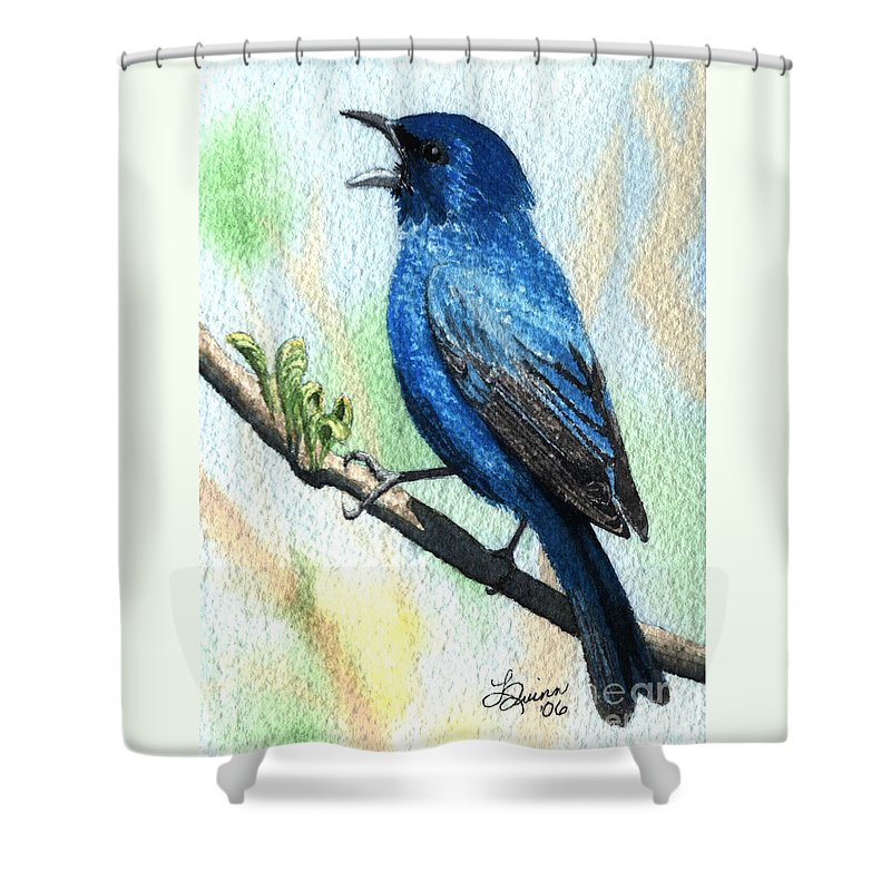 Bird Shower Curtain featuring the painting Indigo Bunting by Lynn Quinn
